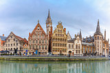 Panorama of Quay Graslei in Ghent town, Belgium
