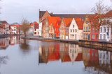 City view of Bruges canal with beautiful houses