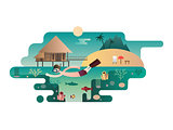 Beach island design flat concept