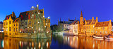 Panorama with tower Belfort in Bruges, Belgium