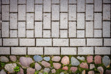 Stone and concrete tiles paving
