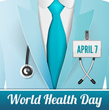Medical doctor in suit with stethoscope close up