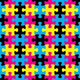 Jigsaw puzzle seamless pattern