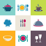Restaurant menu icons collection