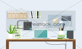 Flat design of light home office interior