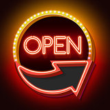 Retro neon sign with the word OPEN and arrow