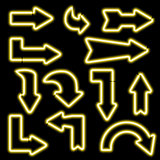 Set neon arrows of different shapes