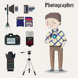 Freelance photographer with  photo camera