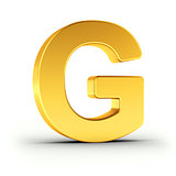 The letter G as a polished golden object with clipping path