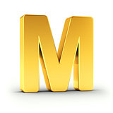 The letter M as a polished golden object with clipping path