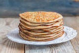 Stack of pancakes from wholegrain flour.