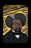 Portrait of Frederick Douglass Over Yellow Etching