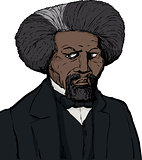 Frederick Douglass Sketch in Color Over White