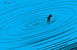 Person floating in blue vortex