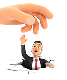 3d big hand helping businessman