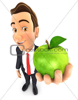 3d businessman holding green apple