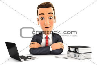 3d businessman sitting at desk