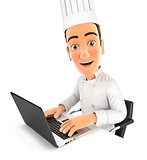 3d head chef working on laptop