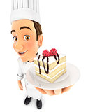 3d head pastry chef holding piece of cake