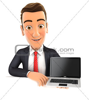 3d businessman behind wall holding laptop