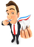 3d businessman brushing his teeth and holding tooth