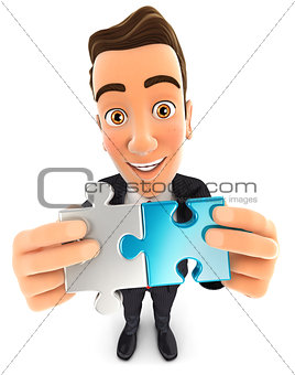 3d businessman connecting two pieces of puzzle
