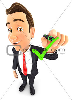 3d businessman drawing positive check mark