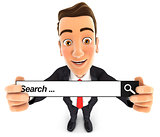 3d businessman holding a search bar