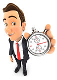 3d businessman holding a stopwatch