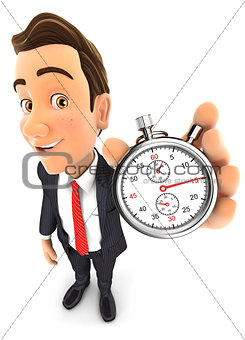 3d businessman holding a stopwatch