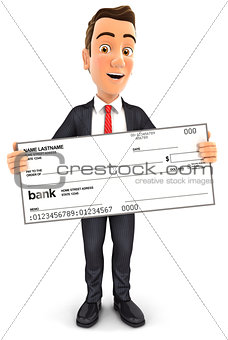 3d businessman holding big bank check