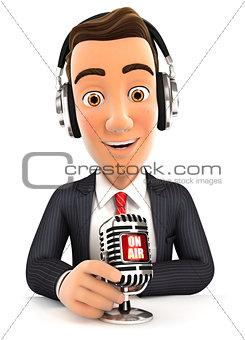 3d businessman radio presenter on air