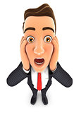 3d businessman with shocked facial expression