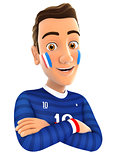 3d french soccer fan with arms crossed
