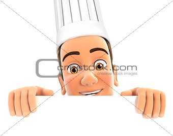 3d head chef hiding behind white wall