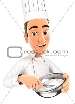 3d head pastry chef holding whisk and bowl