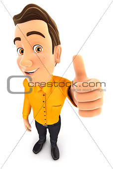 3d man positive pose with thumb up