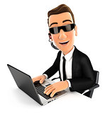 3d security agent works on laptop
