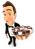 3d waiter holding plate with various chocolates