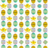 Seamless easter pattern with eggs and rabbit vector