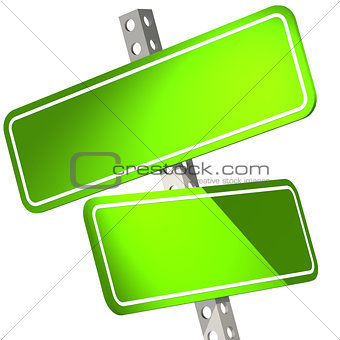 Green two road sign isolated