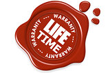 Life time warranty seal isolated on white background