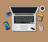 workspace with computer keyboard mouse coffee smartphone