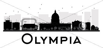 Olympia City skyline black and white silhouette