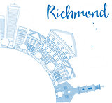 Outline Richmond (Virginia) Skyline with Blue Buildings and Copy