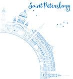 Outline Saint Petersburg skyline with blue landmarks and copy sp
