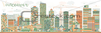 Abstract Vancouver skyline with color landmarks.