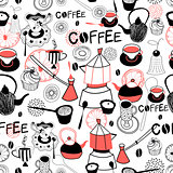 Graphic pattern with crockery for coffee and cakes