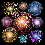 set of graphic fireworks