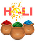 Happy holi. Holi paint pot. Ceramic pot with paint